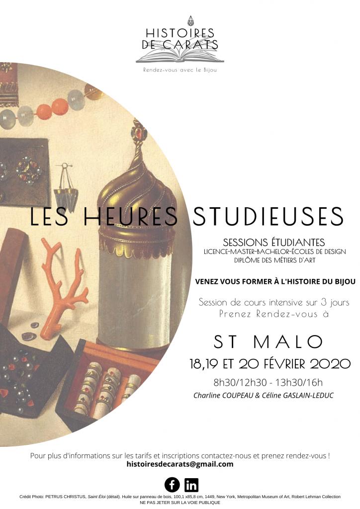 Les Heures Studieuses à Saint-Malo, cours d'histoire de l'art et du bijou pour les étudiants